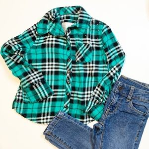 JUSTICE girls green/blue plaid button down 5/$25